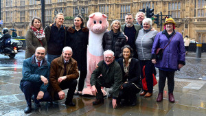 Jerome Flynn, Gizzi Erskine, Pester Pig, Leslie Ash, Ciaran McMenamin, James Orr, Gwyneth McQuiston, Harriett Moore-Boyd, Philip Lymbery, Raymond Pollock & Tracy Worcester outside the House of Commons.